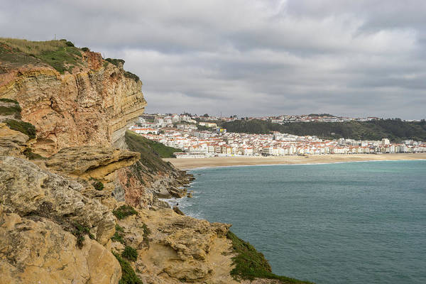 Photograph - Rough And Moody - Stormy Clifftop View Of Nazare Portugal by Georgia Mizuleva