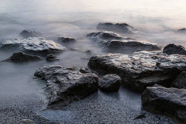 Photograph - Rough And Soft - Smoky Waves And Rocks On The Beach  by Georgia Mizuleva