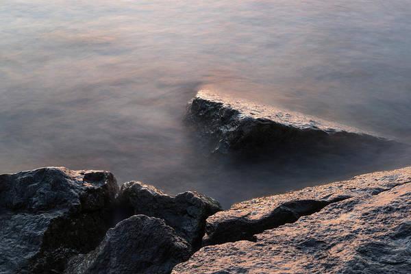 Photograph - Rough And Soft - Sunlit Rocks On The Beach At Sunrise by Georgia Mizuleva