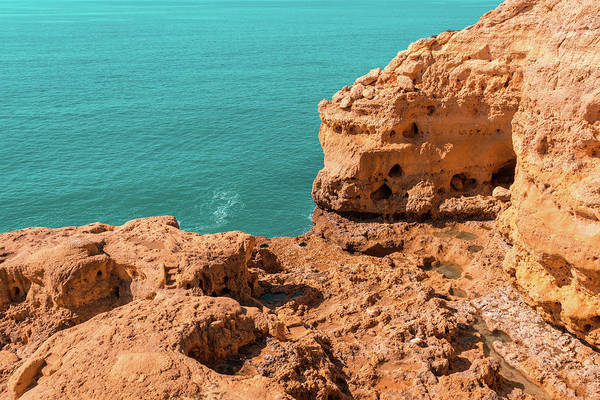 Complementary Colours Photograph - Rough Beauty - Atop The Carvoeiro Sea Cliffs In Algarve Portugal by Georgia Mizuleva