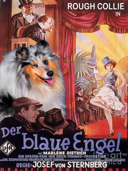 Engels Painting - Rough Collie Art Canvas Print - Der Blaue Engel Movie Poster by Sandra Sij