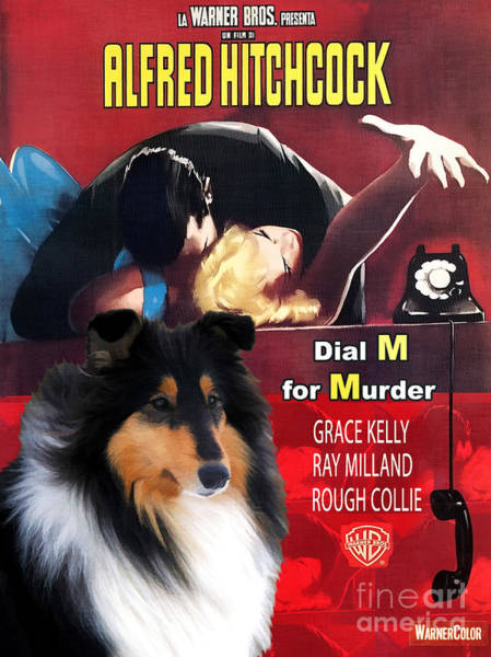 Dial Painting - Rough Collie Art Canvas Print - Dial M For Murder Movie Poster by Sandra Sij