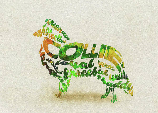 Painting - Rough Collie Watercolor Painting / Typographic Art by Inspirowl Design