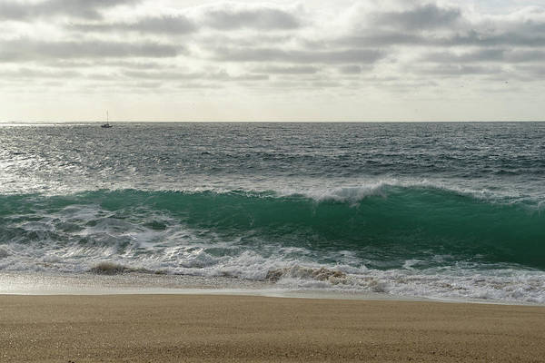 Photograph - Rough Ocean - Aquamarine Wave And A Faraway Yacht From The Beach by Georgia Mizuleva