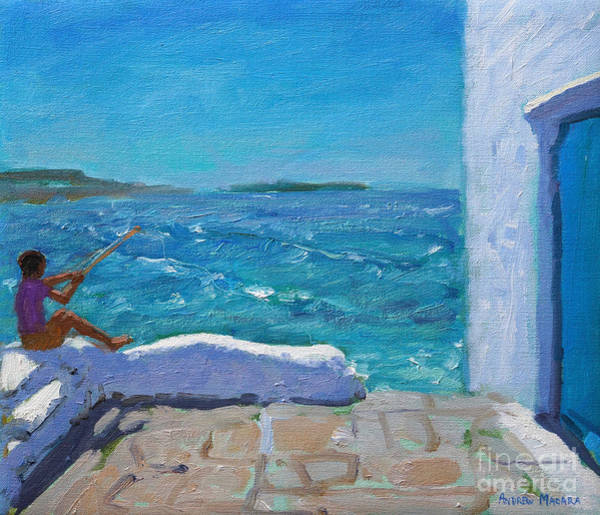 Wall Art - Painting - Rough Seas, Mykonos by Andrew Macara