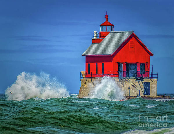 Photograph - Rough Water At Grand Haven Light by Nick Zelinsky