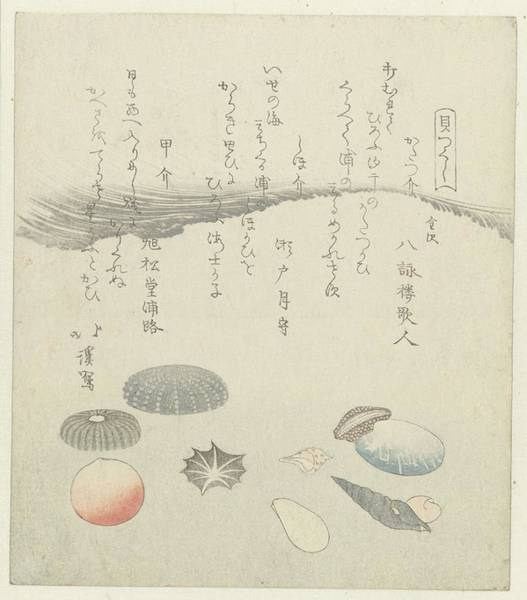 Wall Art - Painting - Round Red And Blue Shell With Smaller Shells, Totoya Hokkei, 1821 by Celestial Images