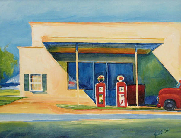 Central Texas Painting - Round Rock Gas Station by Janet Oh