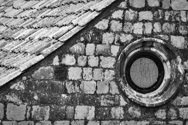 Photograph - Round Window - Black And White by Stuart Litoff