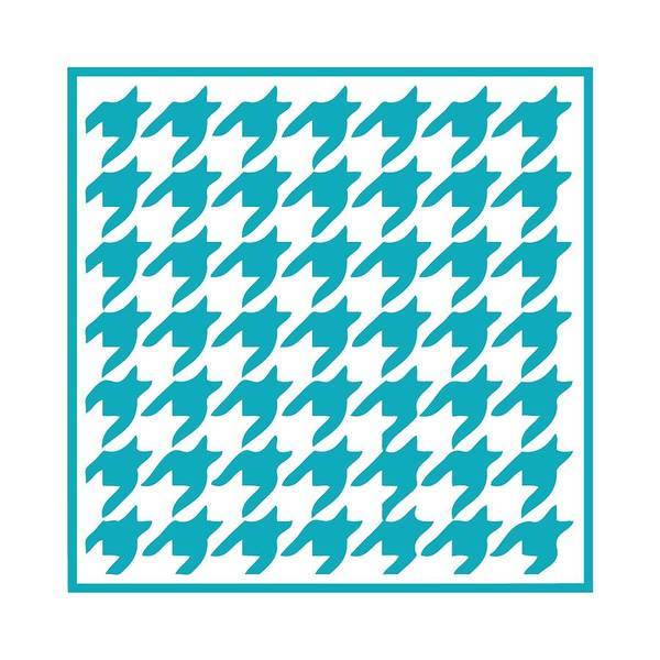 Robin's Egg Blue Digital Art - Rounded Houndstooth With Border In Robin's Egg Blue by Custom Home Fashions