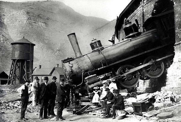 Roundhouse Photograph - Roundhouse Locomotive Crash - Minturn - 1913 by War Is Hell Store