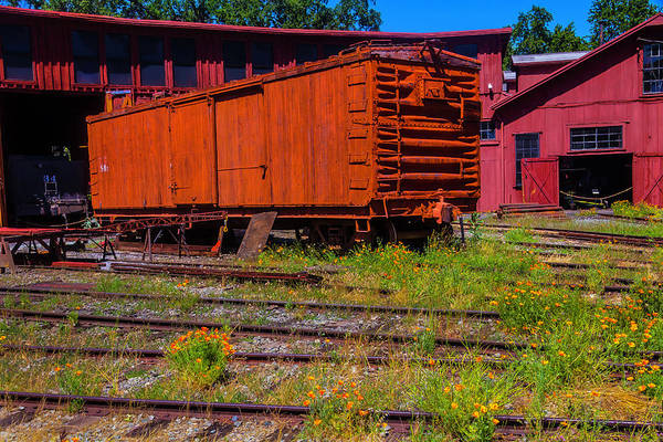 Box Car Photograph - Roundhouse Trainyard by Garry Gay