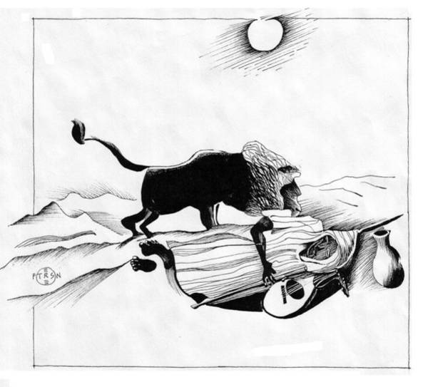 Nomad Drawing - Rousseau Sleeping Gypsy by Gary Peterson