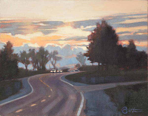 Traffic Painting - Route 66 At Dusk by Todd Baxter