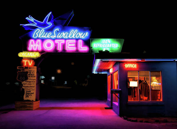 Historic Route 66 Wall Art - Painting - Route 66 Blue Swallow Motel by Christopher Arndt