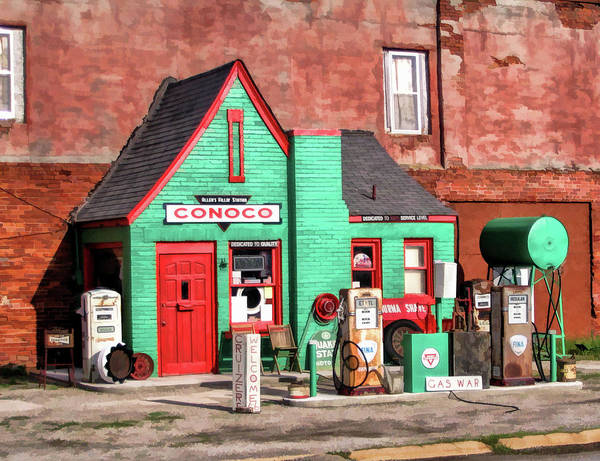Historic Route 66 Wall Art - Painting - Route 66 Conoco Station Oklahoma by Christopher Arndt