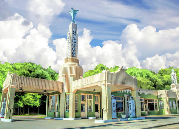 Historic Route 66 Wall Art - Painting - Route 66 Conoco Tower Station by Christopher Arndt
