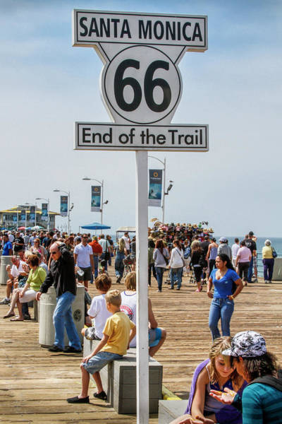 Photograph - Route 66 - End Of The Trail Santa Monica Pier by Gene Parks
