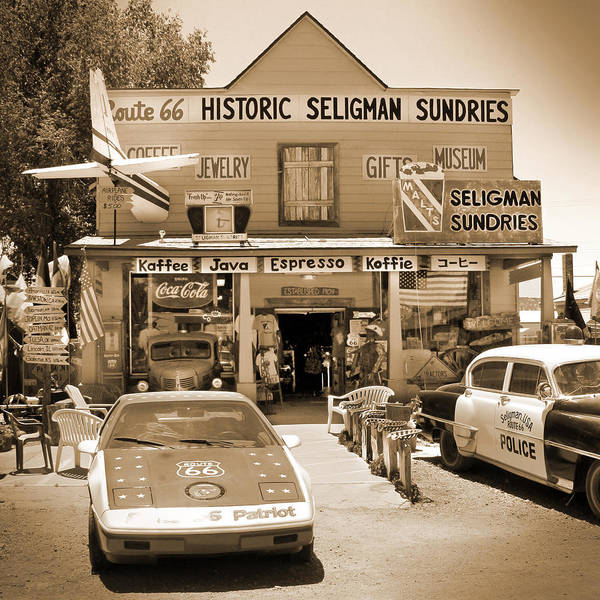Southwest Digital Art - Route 66 - Historic Sundries by Mike McGlothlen