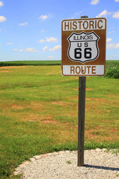 Photograph - Route 66 - Illinois Shield by Frank Romeo