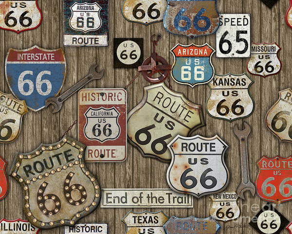 Historic Route 66 Wall Art - Painting - Route 66-jp3956 by Jean Plout