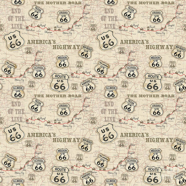 Mother Road Wall Art - Painting - Route 66 Map-jp3960-b by Jean Plout