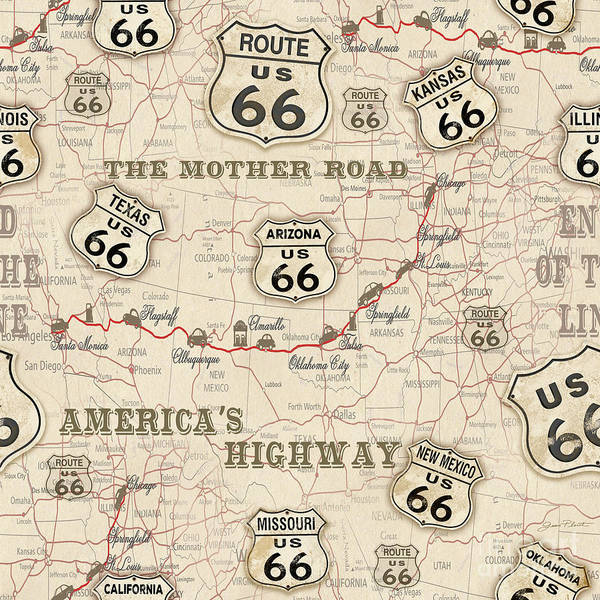 Highway Painting - Route 66 Map-jp3960 by Jean Plout