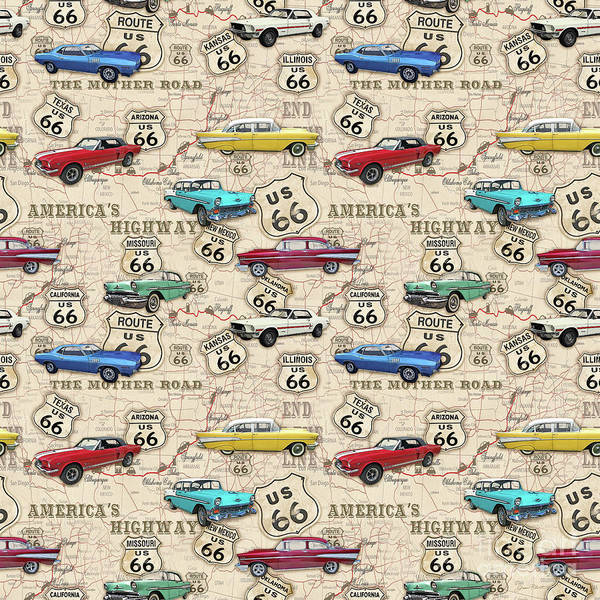 Highway Painting - Route 66 Muscle Car Map-jp3961-b by Jean Plout