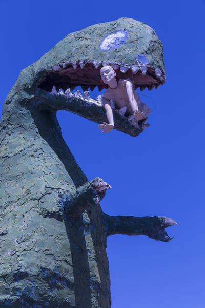 Disintegrate Photograph - Route 66 Roadside Dinosaur by Garry Gay