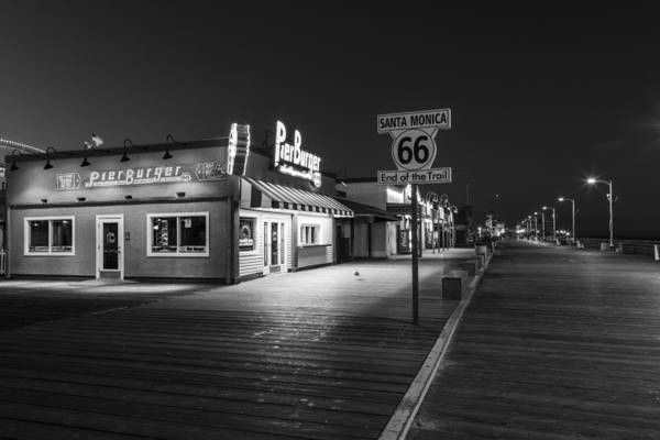 Pier 66 Photograph - Route 66 Santa Monica Black And White  by John McGraw