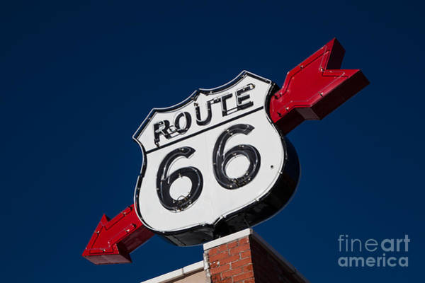 Photograph - Route 66 Sign by T Lowry Wilson