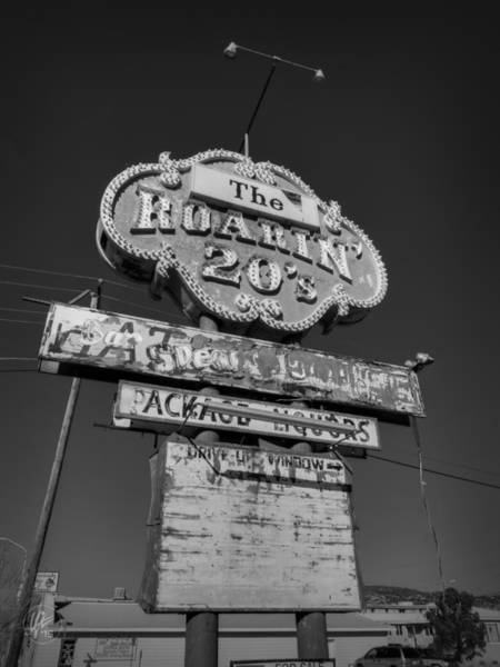 Photograph - Route 66 - The Roaring 20's 001 Bw by Lance Vaughn