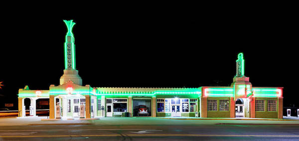 Wall Art - Photograph - Route 66 Tower Conoco And Cafe by Stephen Stookey
