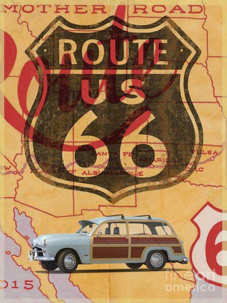 Digital Art - Route 66 Vintage Travel Poster by Edward Fielding