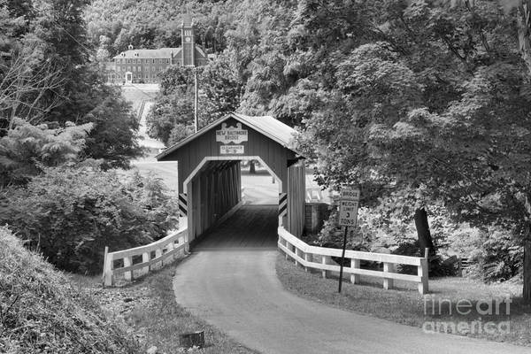 Somerset County Photograph - Route 812 Coverd Bridge Black And White by Adam Jewell