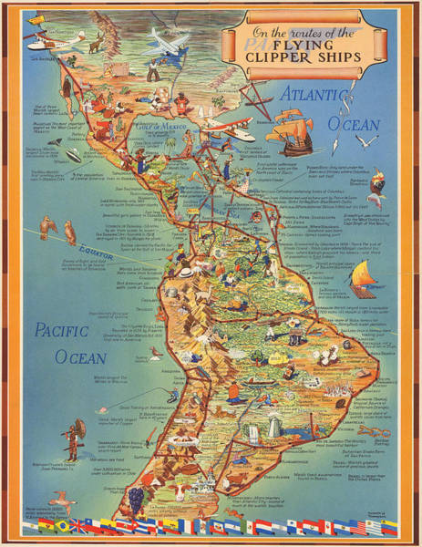Wall Art - Mixed Media - Routes Of The Flying Clipper Ships - Pan American Airways - Vintage Pictorial Map by Studio Grafiikka
