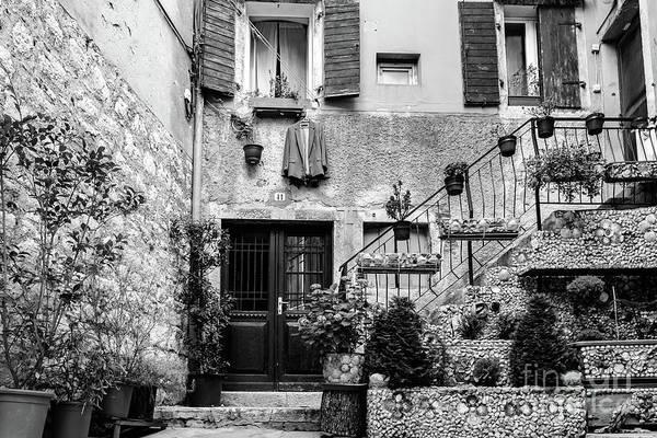 Rovinj Old Town Courtyard In Black And White, Rovinj Croatia Art Print