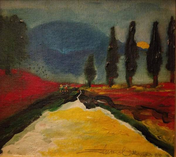 Painting - Row Of Cypress by Edward Longo