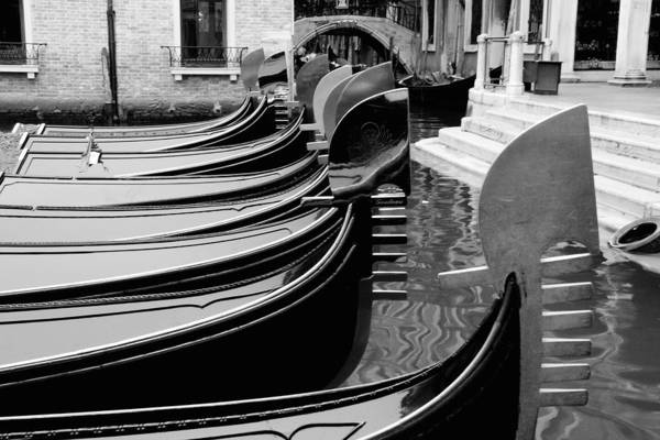 Wall Art - Photograph - Row Of Gondola Bows In Venice by Michael Henderson