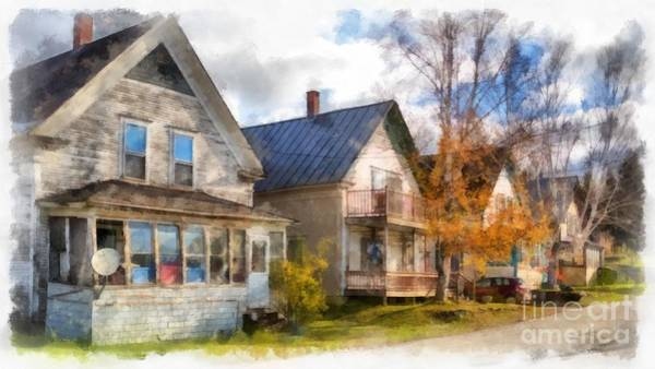 Wall Art - Photograph - Row Of Houses Hardwick Vermont Watercolor by Edward Fielding