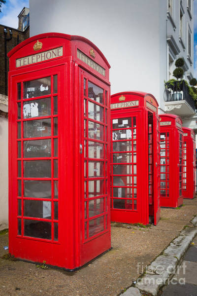 London Phone Booth Wall Art - Photograph - Row Of Phone Booths by Inge Johnsson