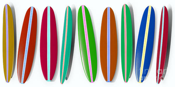 California Beaches Digital Art - Row Of Surfboards 2 by Edward Fielding