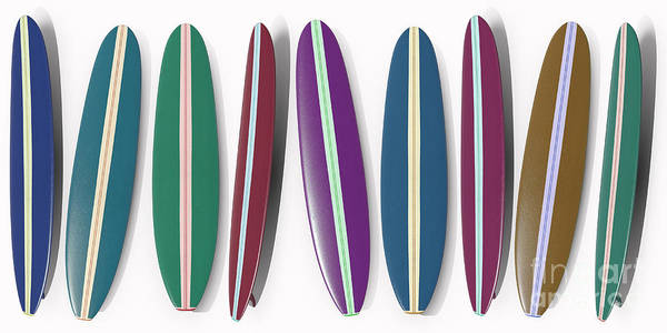 California Coast Digital Art - Row Of Surfboards by Edward Fielding