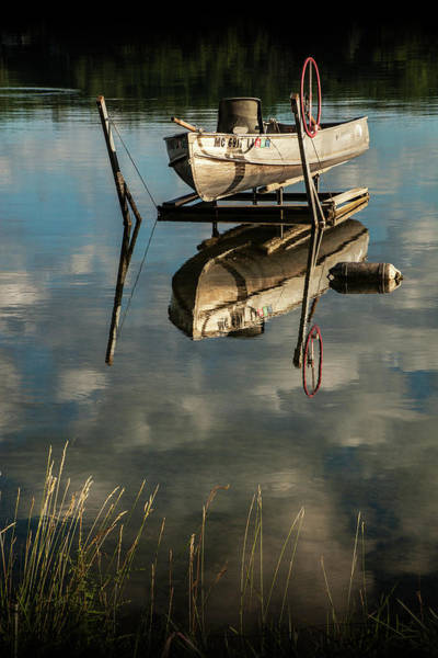 Photograph - Rowboat In Early Morning Sunlight With Shore Grass by Randall Nyhof