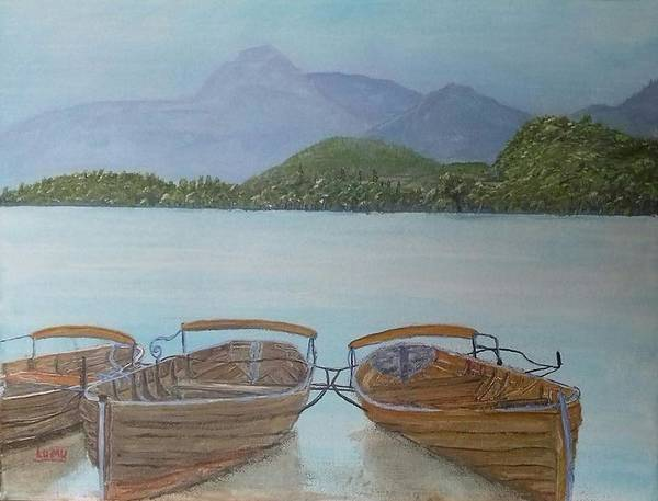 Windermere Painting - Rowboats Lake Windermere by Tom Wheeler LUMU