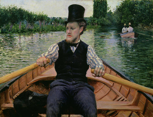 Punt Painting - Rower In A Top Hat by Gustave Caillebotte