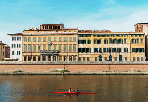 Photograph - Rowers On River Arno In Pisa, Tuscany, Italy  by Alexandre Rotenberg