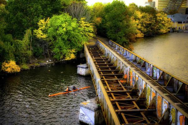 Photograph - Rowers Under The Boston University Bridge by Joann Vitali