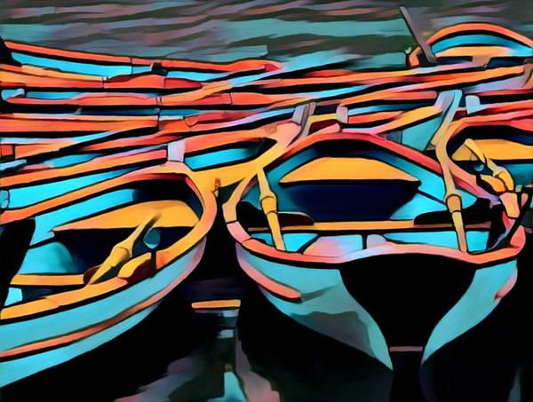 Digital Art - Rowing Boats, Paris / Nice by Bellanda