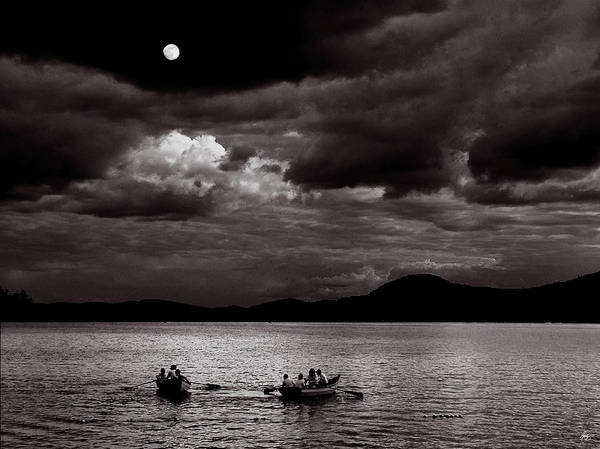 Photograph - Rowing By Moonlight by Wayne King